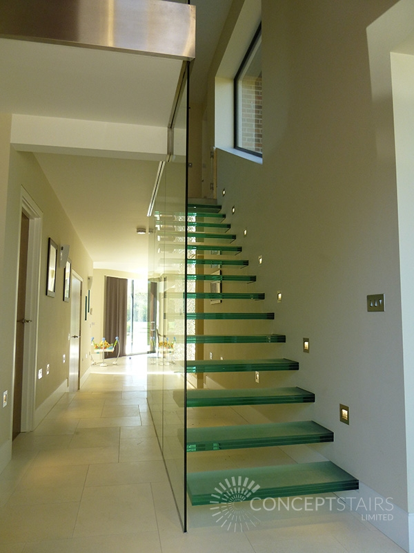 floating glass cantilever feature staircases